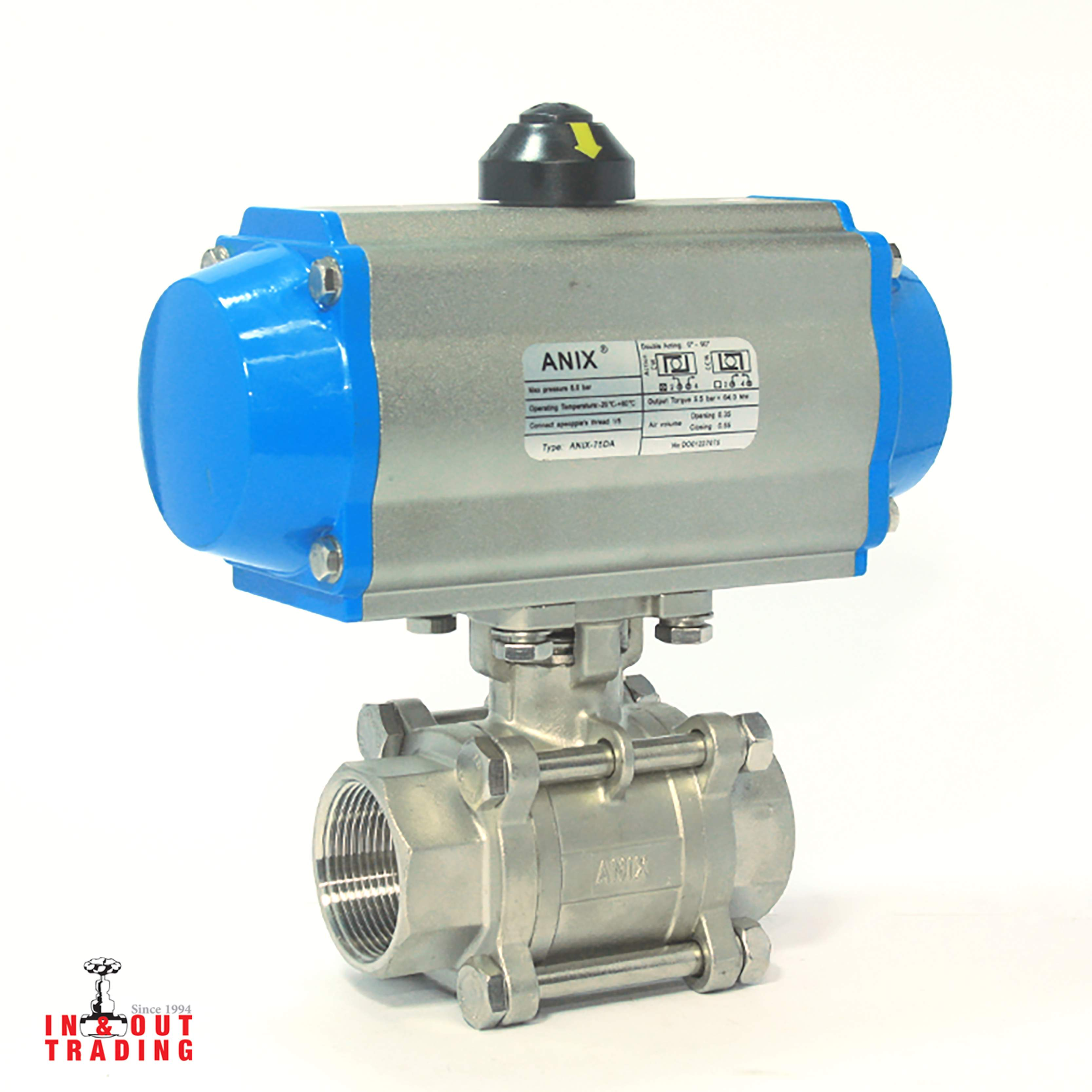 'ANIX - BALL VALVE SS316 PN16 with PNEUMATIC ACTUATOR'